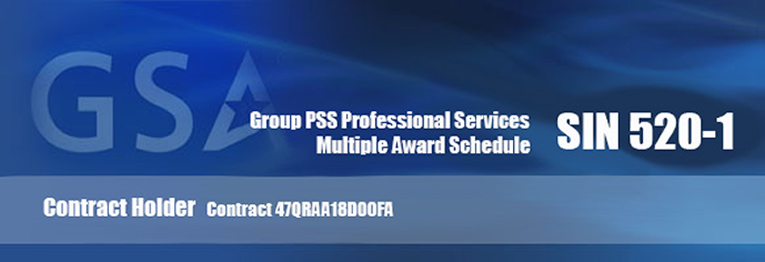 Image with text: G.S.A., Group P.S.S. Professional Services, Multilple Award Schedule S.I.N. 5 2 0 ‒ 1